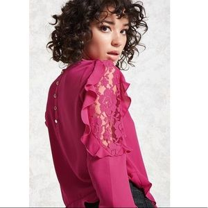Fuchsia/Pink Lace-Insert Crepe Top/blouse